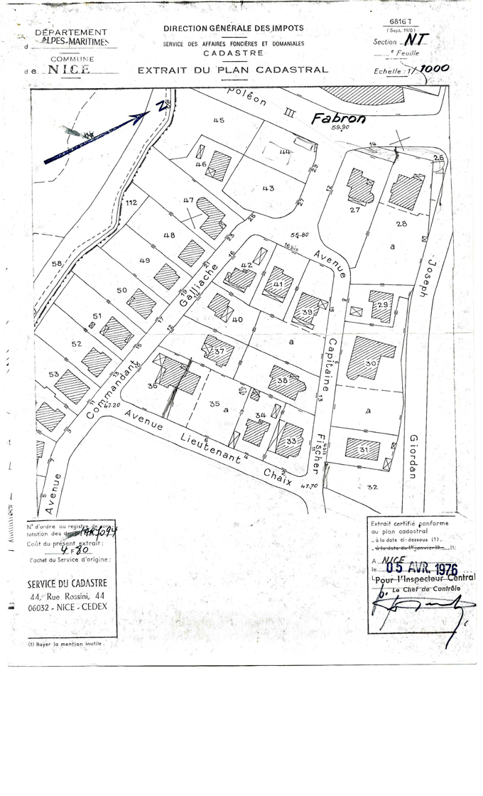cadastres stH1976 Zone NT