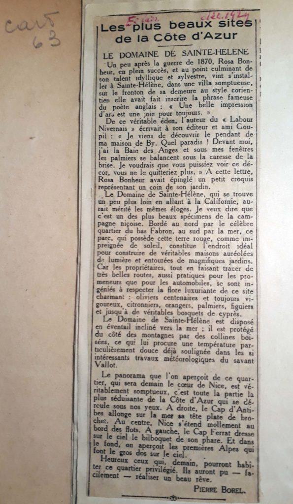 LE DOMAINE de SAINTE-HELENE - Pierre BOREL - les plus beaux sites de la Côte d'Azur -1929