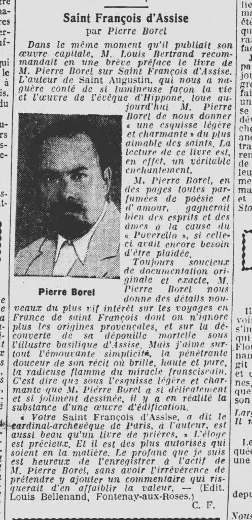Livre de Pierre BOREL  - Saint François d'Assise 1936