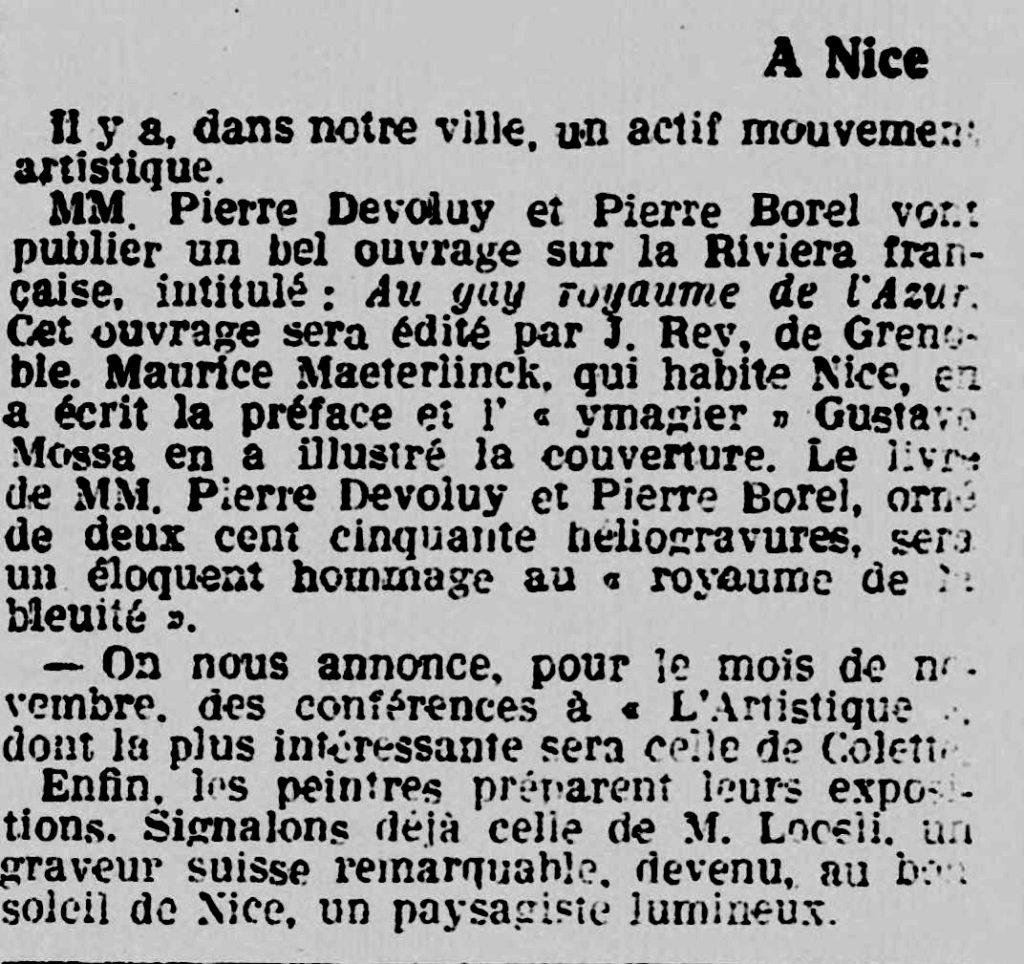 Pierre Borel- Pierre Devoluy - Riviera Auteur - l'éclaireur de Nice - Les nouvelles littéraires -