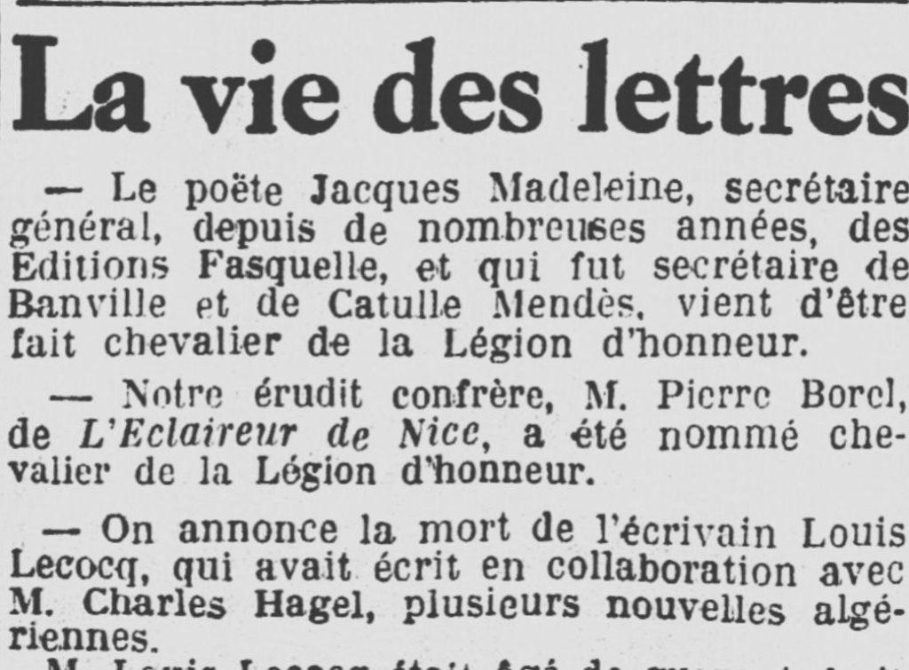 Pierre BOREL - Chevalier Légion d'Honneur - l'Eclaireur de Nice - Hebdomadaire